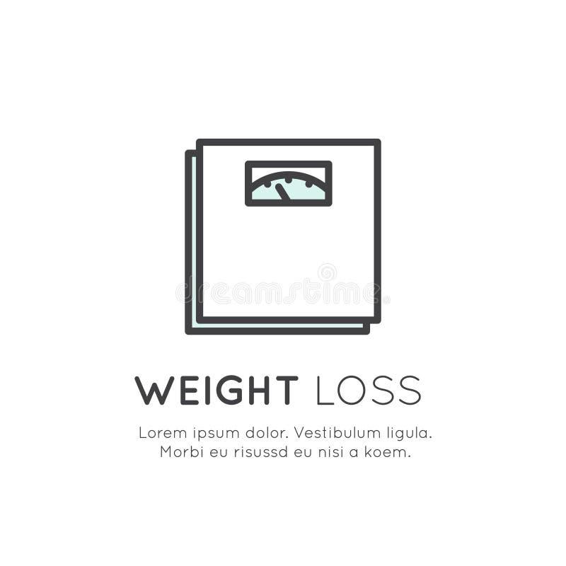 Logotipo das escalas, perda de peso, conceito saudável da dieta do estilo de vida ilustração royalty free