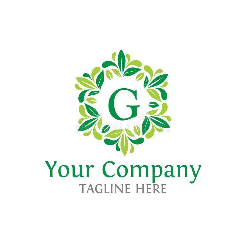 Logotipo das iniciais de G da letra Logotype luxuoso da folha do ABC ilustração stock
