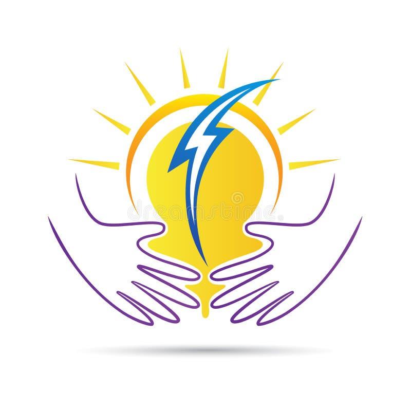 Logotipo das mãos do cuidado do poder da natureza ilustração stock