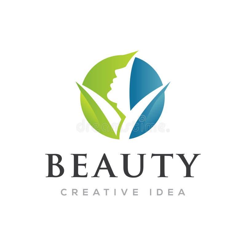 Logotipo das mulheres da beleza da cara do círculo fotografia de stock