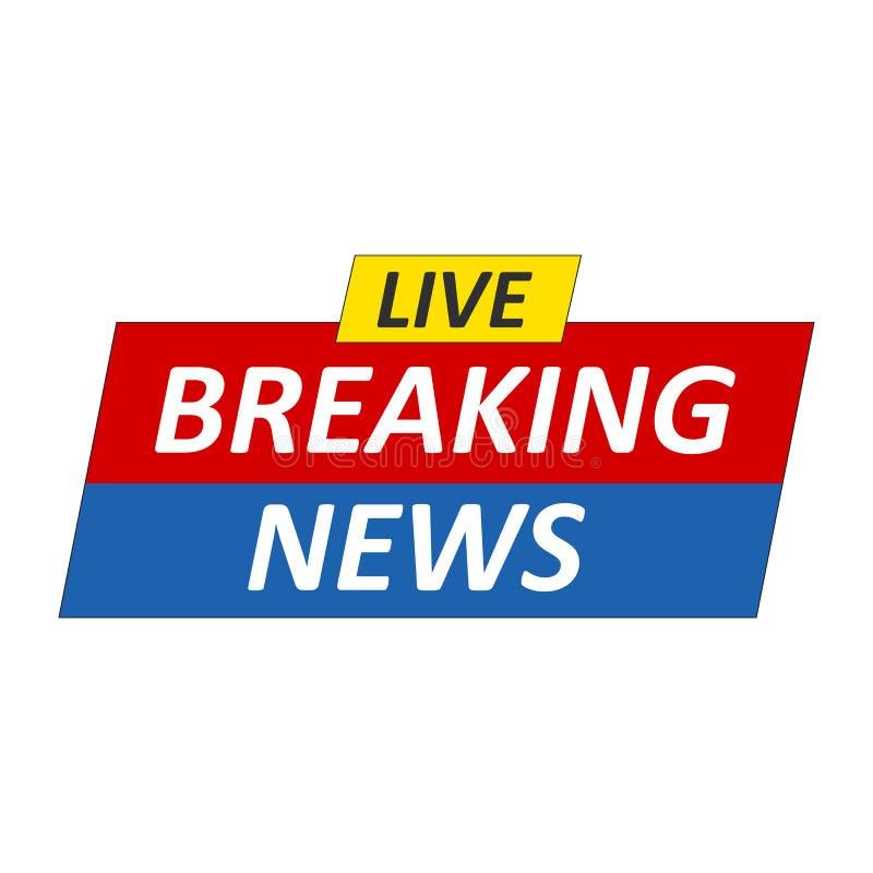 Logotipo das notícias de última hora, Live Banner Notícia da tevê, projeto dos mass media ilustração stock
