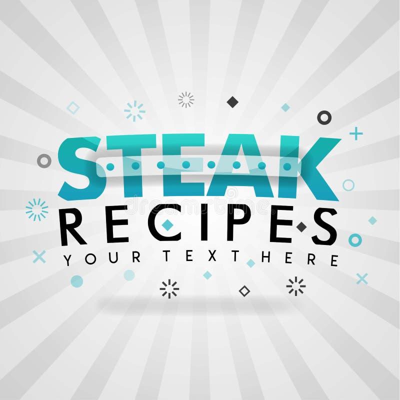 Logotipo das receitas do bife para ideias do jantar dos restaurantes ilustração stock