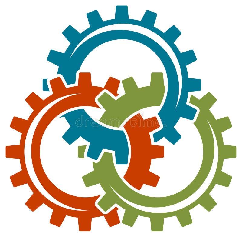 Logotipo das rodas de engrenagem ilustração royalty free