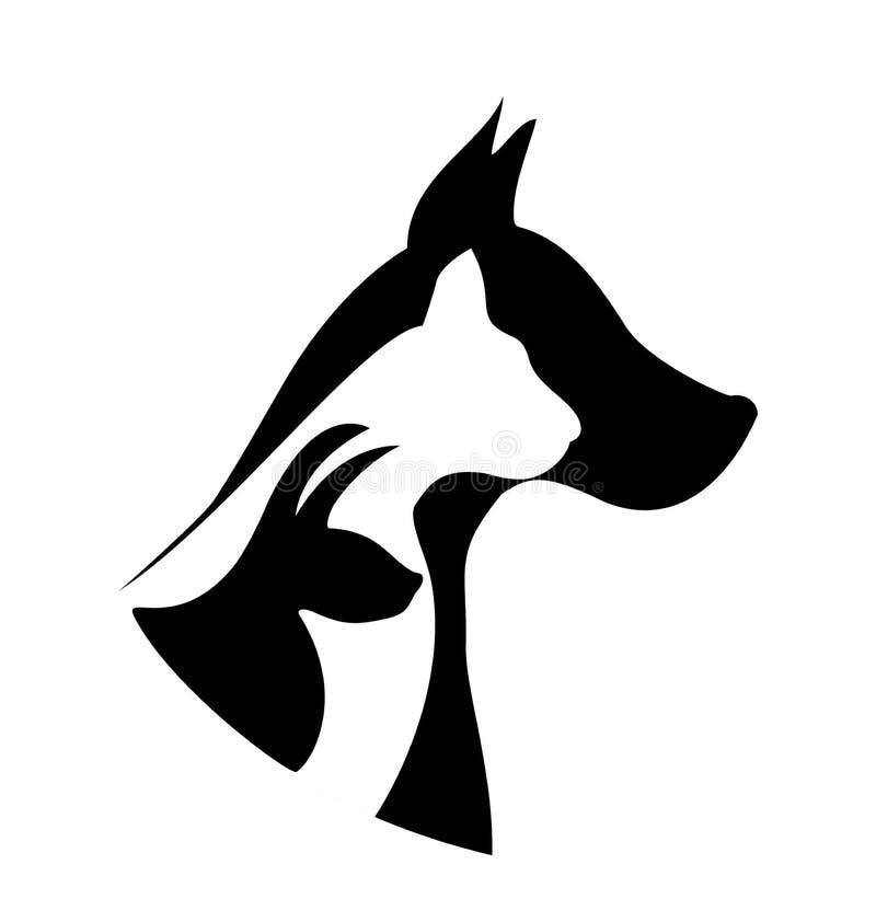 Logotipo das silhuetas dos animais de estimação ilustração do vetor