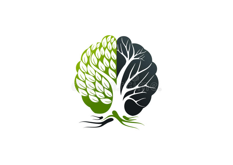 Logotipo de Alzheimer, diseño de concepto del cerebro del árbol stock de ilustración