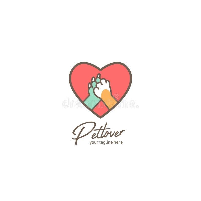Logotipo de amante de animais de estimação, logotipo de abrigo ou loja de animais de estimação com pata de cão e gato e cinco íco ilustração royalty free