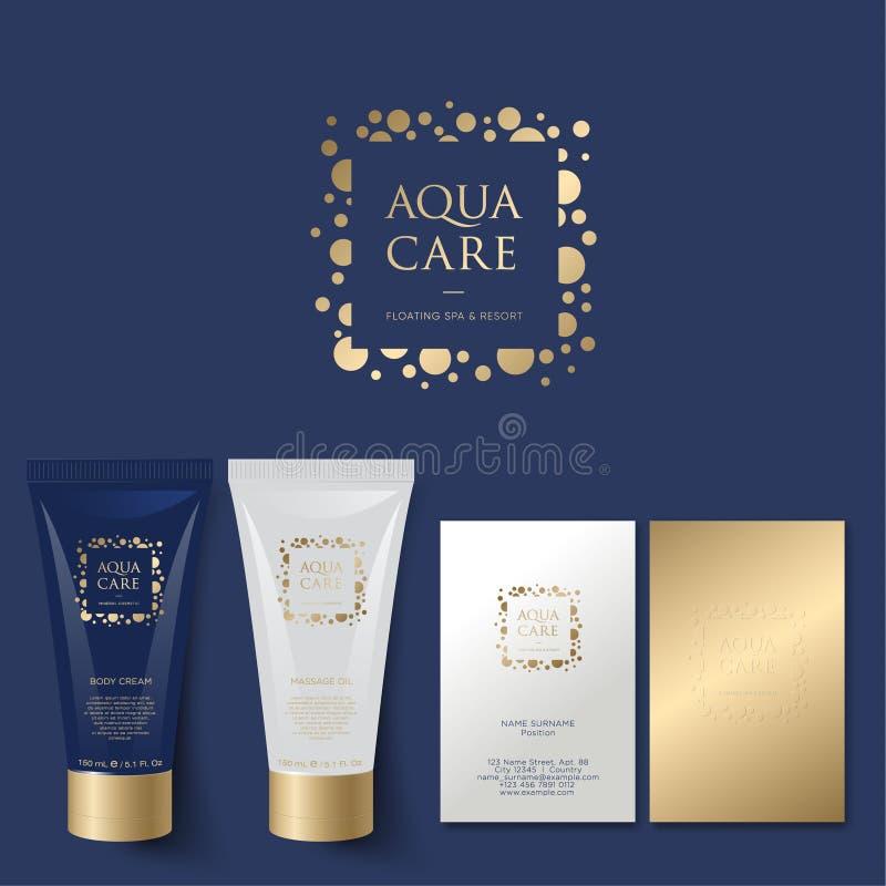 Logotipo de Aqua Care Emblema del balneario Logotipo natural mineral de los cosméticos identidad Tubos y tarjeta de visita ilustración del vector
