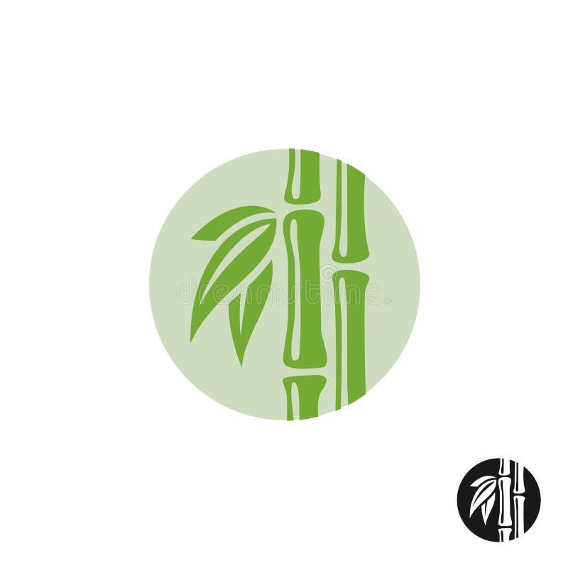 Logotipo de bambú Hojas y tronco en una insignia redonda stock de ilustración