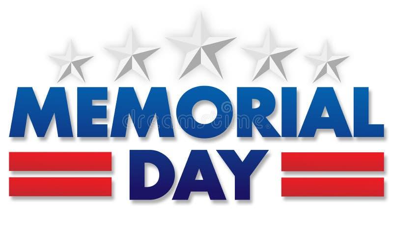 Logotipo de Banner de Banner do Dia Memorial com Estrelas e Stripes imagem de stock royalty free