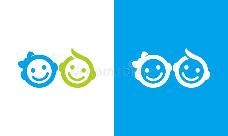 logotipo de 2 bebês imagens de stock royalty free
