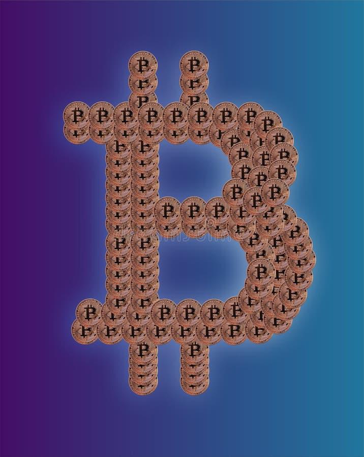 Logotipo de Bitcoin en Bitcoins ilustración del vector