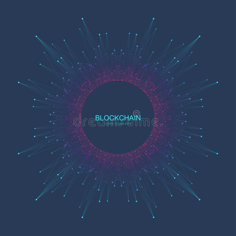 Logotipo de Blockchain, muestra, concepto del icono Diseño de la bandera de los datos del cryptocurrency del fractal Bloque abstr stock de ilustración