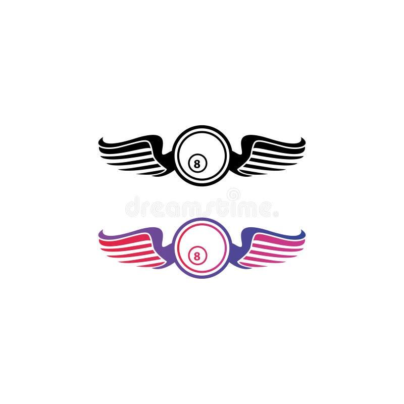 Logotipo de bola de Billiard y vector de ala ilustración del vector