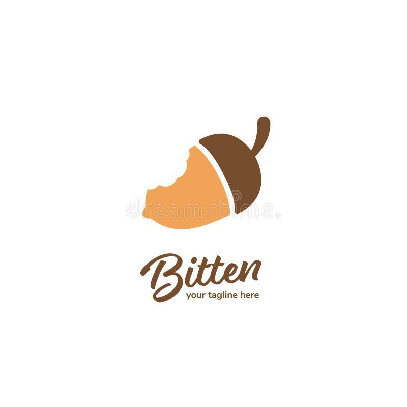 Logotipo de cacahuete de maní de roble mordido, logotipo de tuerca de ardilla mordida, icono de tipo simple vectorial plano stock de ilustración