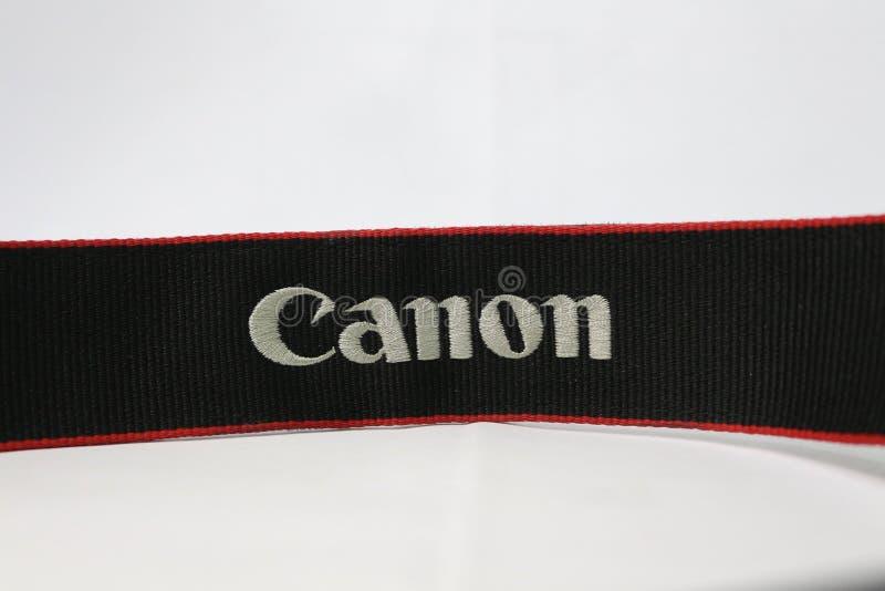 Logotipo de Canon na correia imagens de stock royalty free
