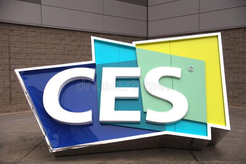 Logotipo de CES fora de Las Vegas Convention Center, CES 2019 fotografia de stock royalty free