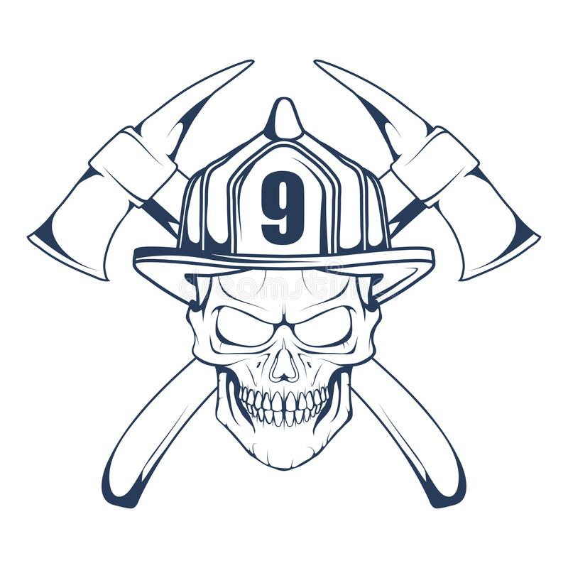 Logotipo de combate ao fogo A cabeça do ` s do bombeiro em uma máscara Etiqueta do departamento dos bombeiros ilustração stock