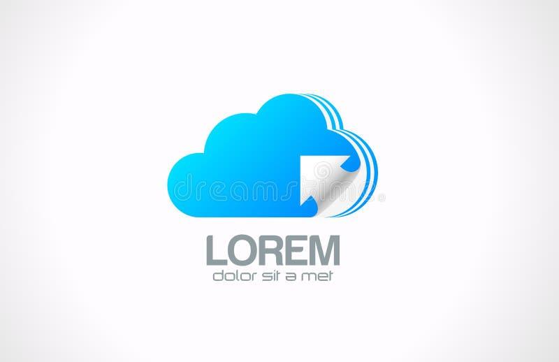 Logotipo de computação da nuvem. Ícone de transferência dos dados. ilustração do vetor
