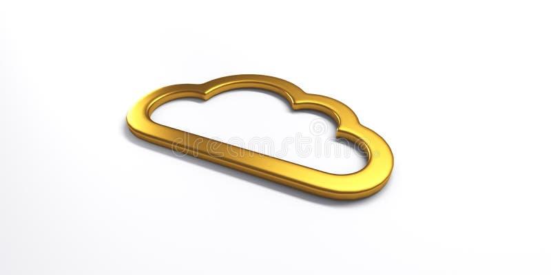 Logotipo de computação da nuvem do ouro ilustração da rendição 3d ilustração royalty free