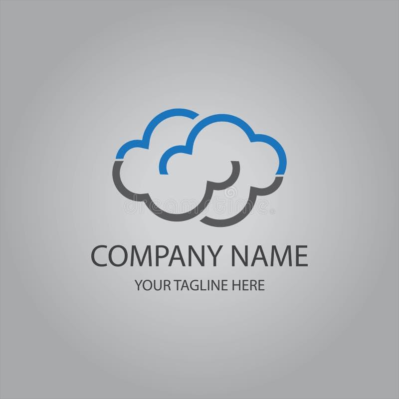 Logotipo de computação do molde da nuvem ilustração do vetor