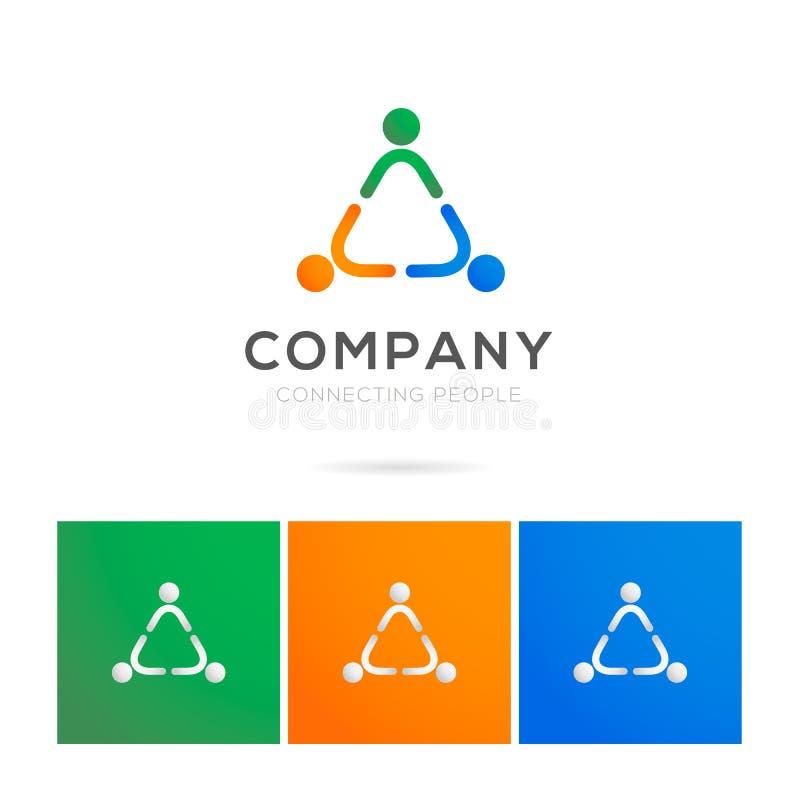 Logotipo de conexión de la gente en estilo colorido del pictograma foto de archivo