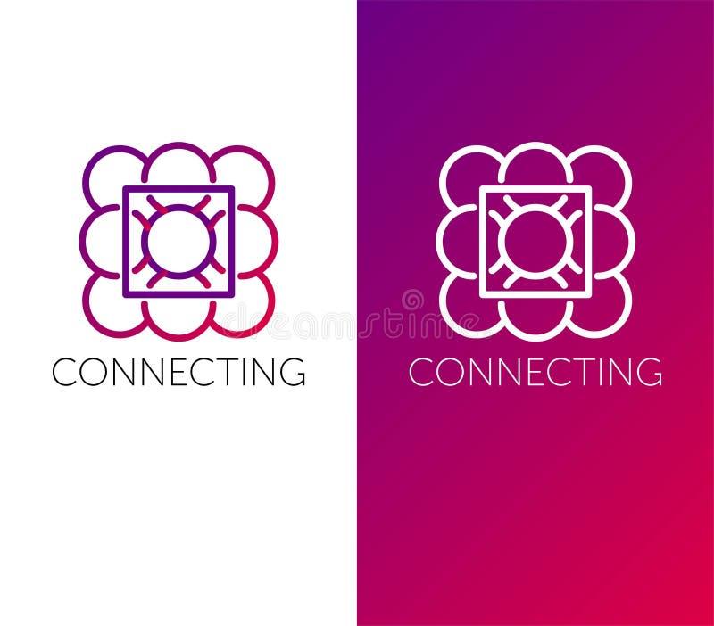 Logotipo de conexi?n objetos del vector del círculo L?nea logotipo el color conecta stock de ilustración