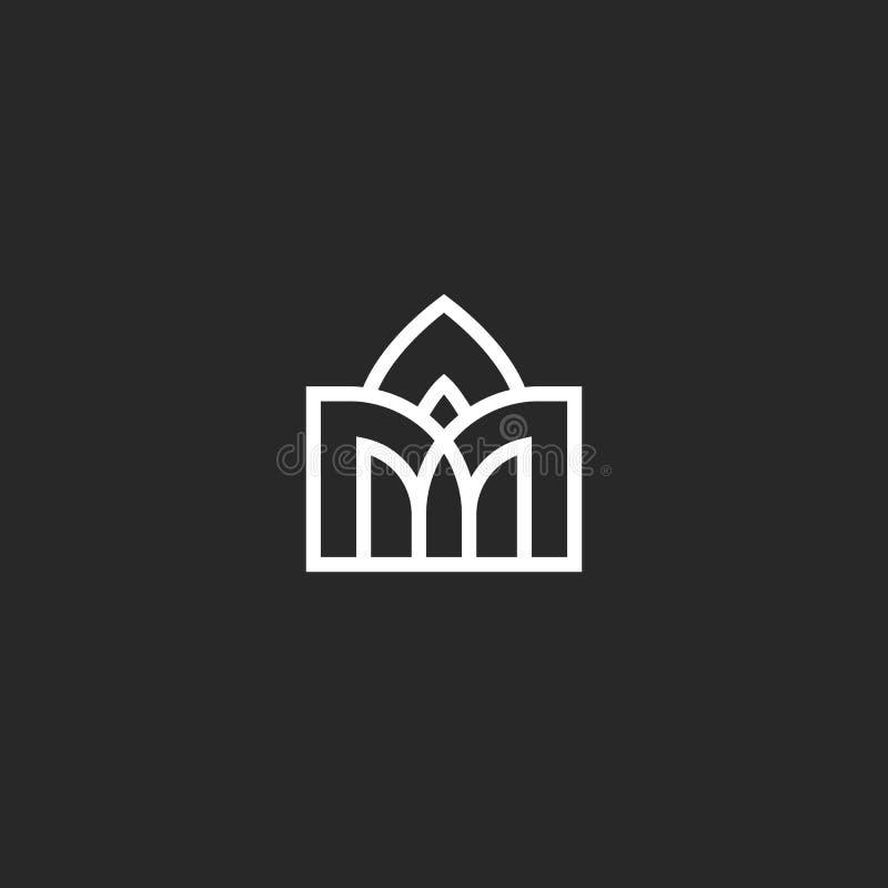 Logotipo de construção abstrato, projeto arqueado arcado no ícone medieval da arquitetura do estilo ilustração do vetor