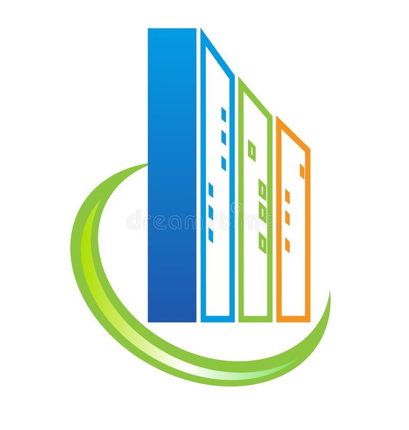 Logotipo de construção dos bens imobiliários ilustração do vetor