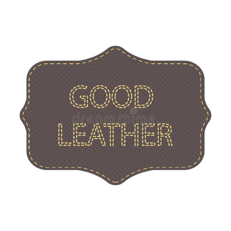 Logotipo de couro Etiqueta com o bom couro das palavras Pontos do quadro e da rotulação ilustração royalty free