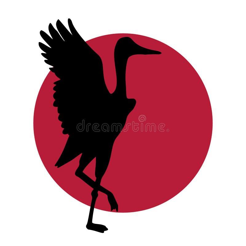 Logotipo de Crane Japanese stock de ilustración
