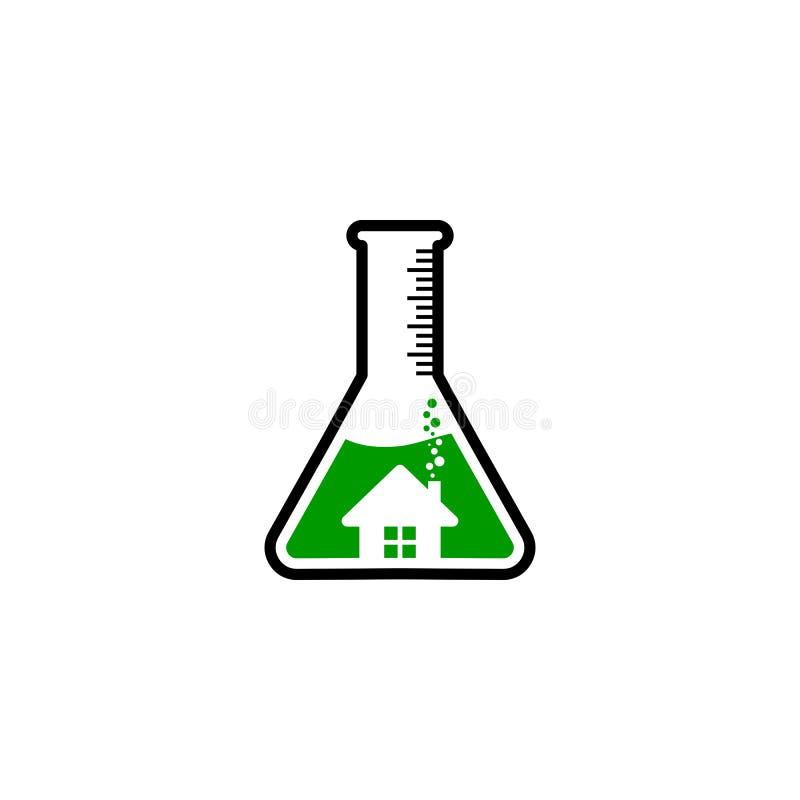 Logotipo de cristal de la casa del laboratorio stock de ilustración
