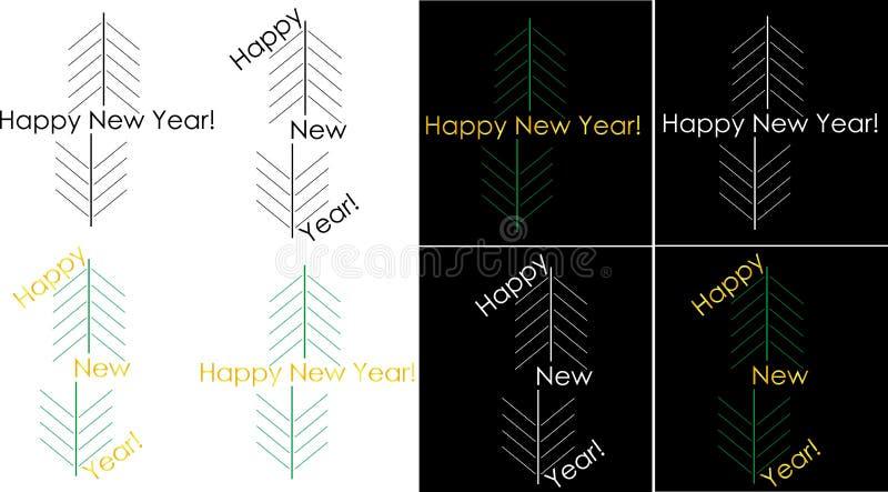 Logotipo de cumprimento do ano novo feliz de Minimalistic ilustração royalty free