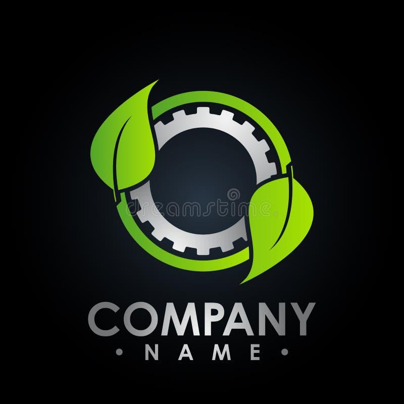 Logotipo de Eco com símbolo da folha e da engrenagem, tubo de ensaio colorido com fresco ilustração stock