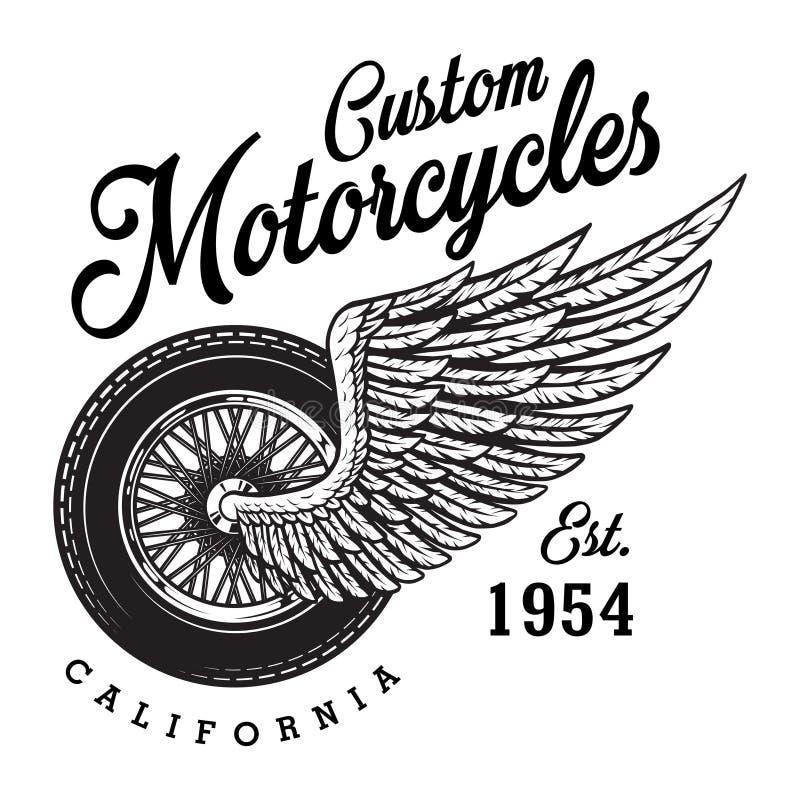 Logotipo de encargo monocromático de la motocicleta stock de ilustración