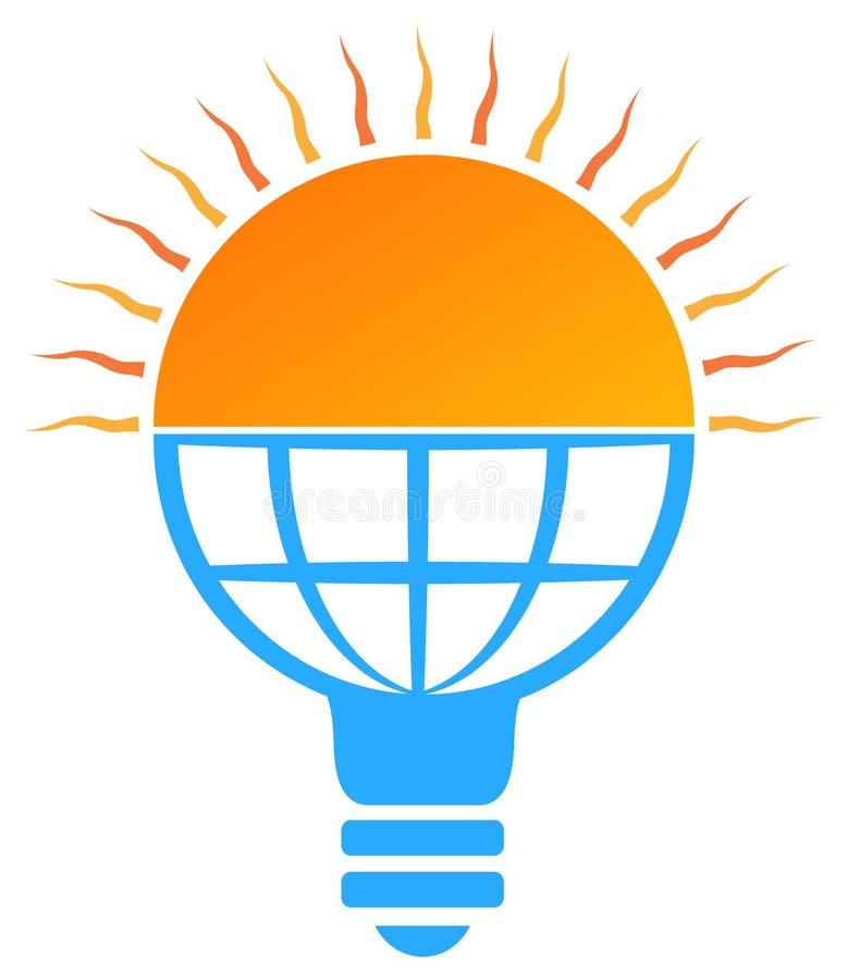 logotipo de energía solar de la bombilla del sol ilustración del vector