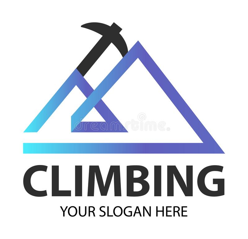 Logotipo de escalada criativo moderno do equipamento, machado do alpinismo combinado com a silhueta de uma rocha Adv do molde do  ilustração stock