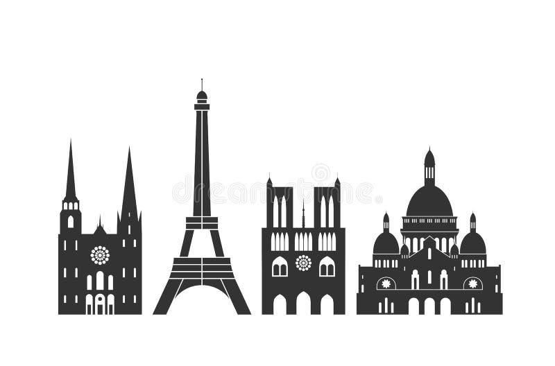 Logotipo de França Arquitetura francesa isolada no fundo branco ilustração stock