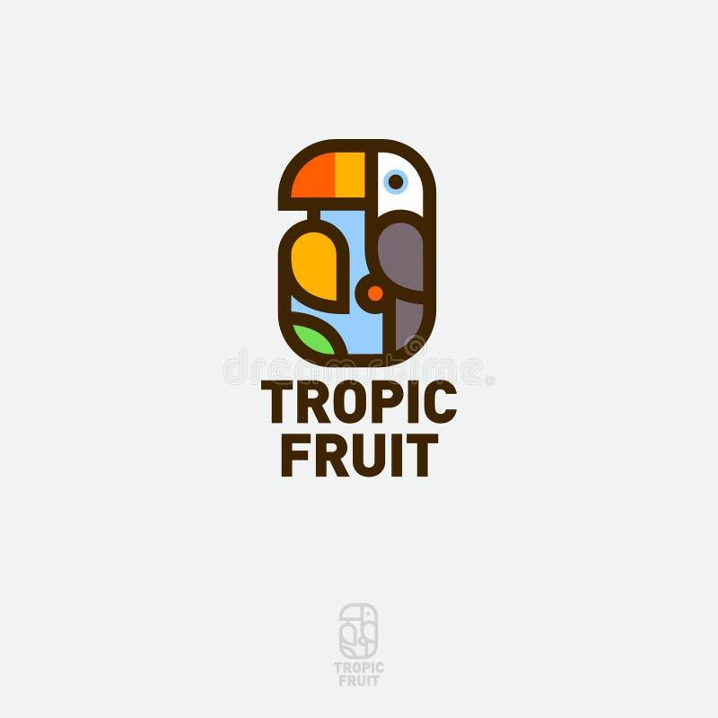 Logotipo de fruta tropical Aves tropicais com frutos maduros de manga emblema táctil ilustração royalty free