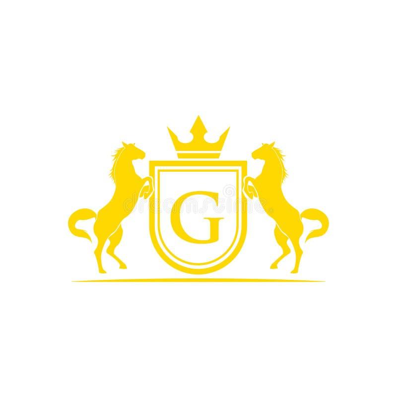 Logotipo de G da letra inicial Vetor do projeto do logotipo do tipo do cavalo Crista dourada retro com protetor e cavalos Molde h ilustração do vetor