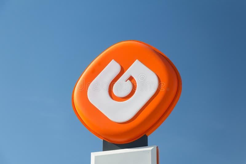 Logotipo de Galp en la gasolinera de Galp foto de archivo libre de regalías