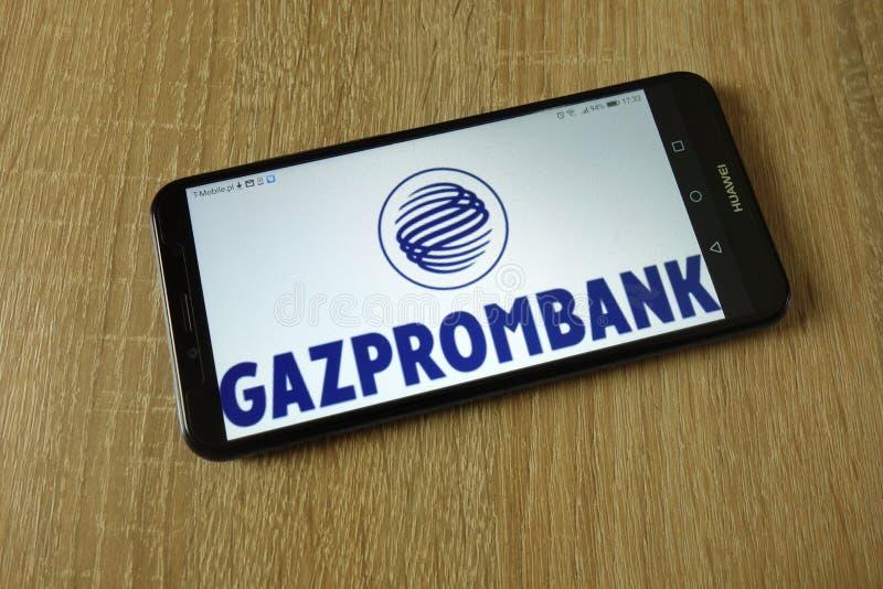 Logotipo de Gazprombank indicado no smartphone imagem de stock royalty free