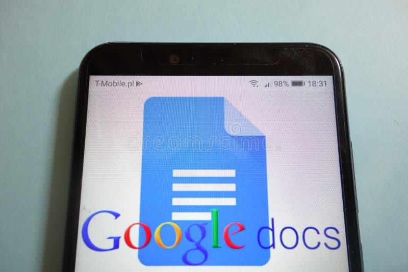 Logotipo de Google Docs en smartphone fotografía de archivo