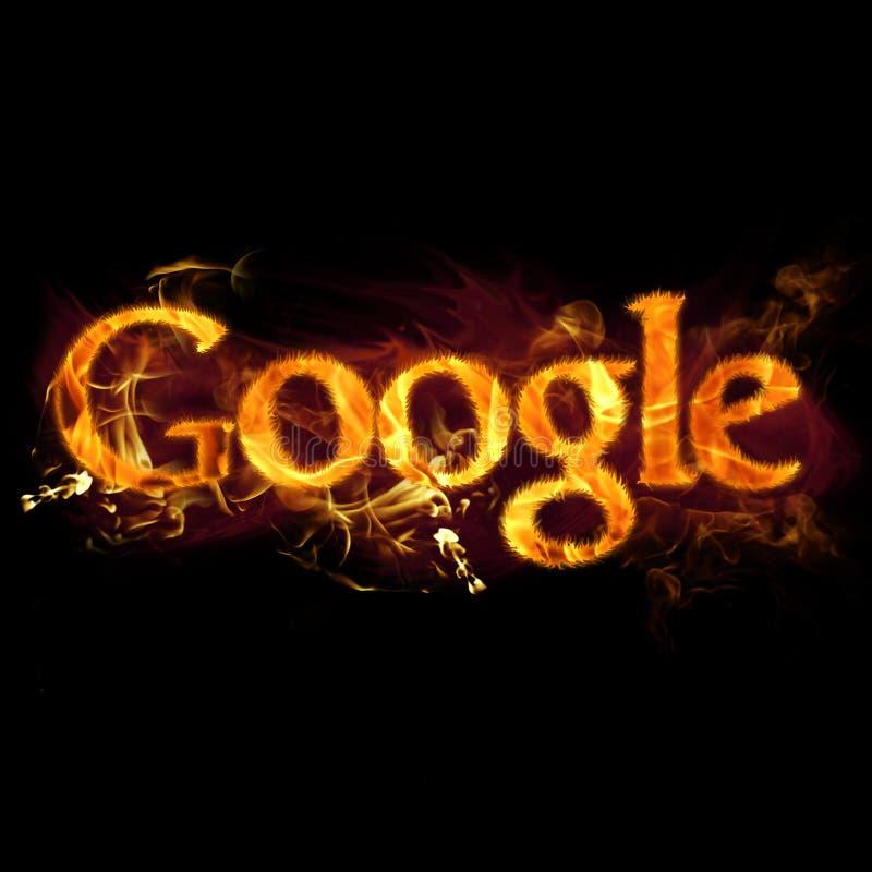 Logotipo de Google no fogo ilustração do vetor