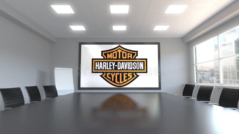 Logotipo de Harley-Davidson en la pantalla en una sala de reunión Representación editorial 3D ilustración del vector