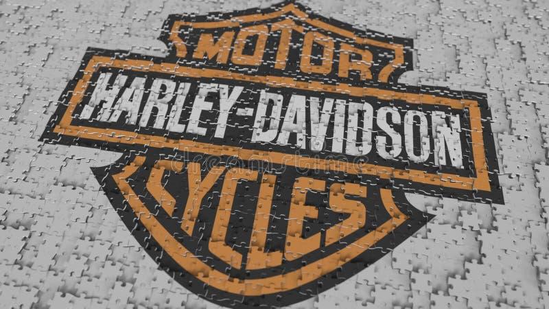 Logotipo de HARLEY-DAVIDSON que es hecho con los pedazos del rompecabezas, representación editorial 3D libre illustration