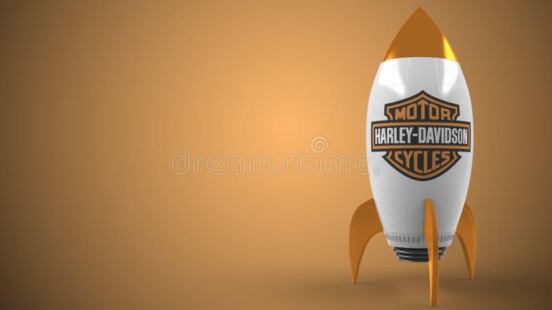 Logotipo de HARLEY-DAVIDSON un cohete del juguete El éxito conceptual editorial relacionó la representación 3D stock de ilustración
