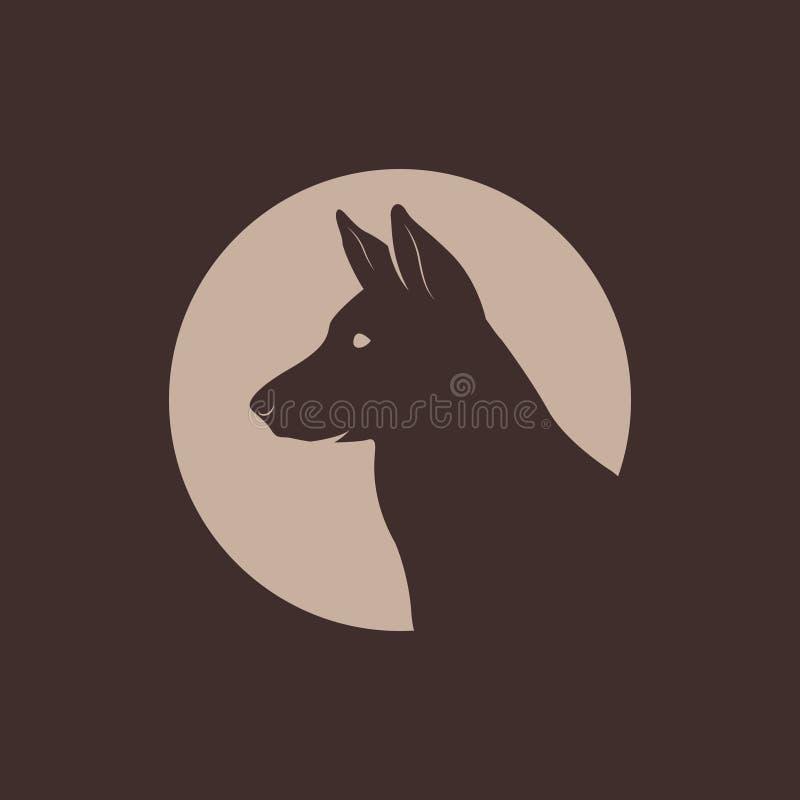 Logotipo de Head Silhouette do pastor alemão ilustração stock