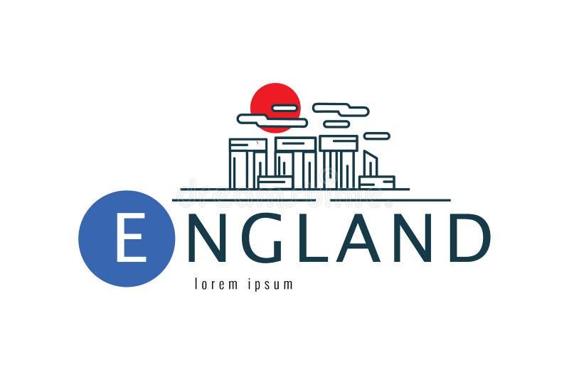 Logotipo de Inglaterra Stonehenge de Wiltshire de la escena de Gran Bretaña ilustración del vector