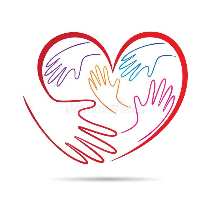 Logotipo de inquietação da caridade das mãos do amor ilustração do vetor