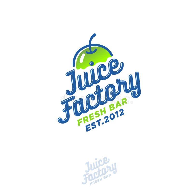 Logotipo de Juice Factory Smoothie, detox y café sabroso del jugo Bebidas sanas stock de ilustración